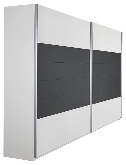 SCHWEBETÜRENSCHRANK 2-türig Grau, Weiß - Alufarben/Weiß, Design, Holzwerkstoff/Metall (226/210/62cm) - Carryhome