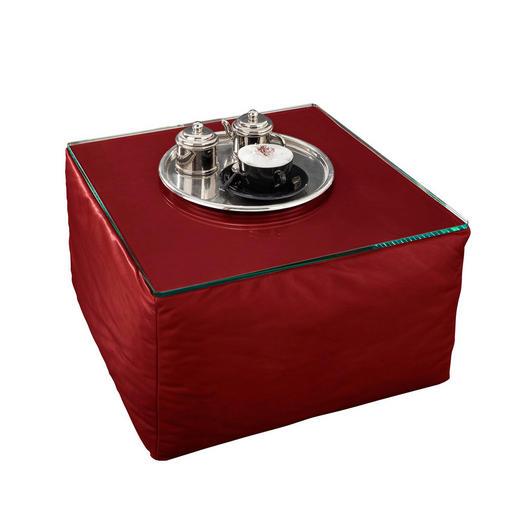 HOCKER Echtleder Rot - Rot, Design, Leder (80/43/80cm) - Wischi Black Label
