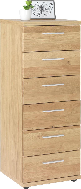 KOMMODE Wildeiche furniert, teilmassiv Eichefarben - Chromfarben/Eichefarben, Design, Holz/Kunststoff (42/107/39cm)