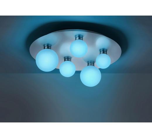LED-DECKENLEUCHTE   - Weiß/Nickelfarben, KONVENTIONELL, Glas/Metall (50/16,5cm)