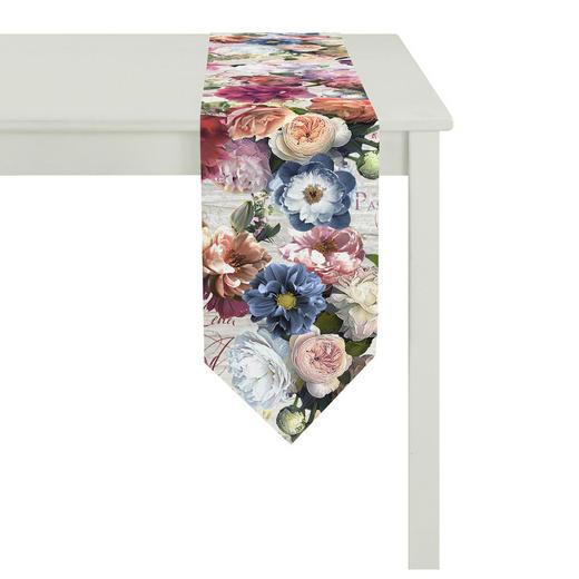 TISCHLÄUFER Textil Altrosa, Blau, Dunkelgrün, Multicolor, Rosa 25/175 cm - Blau/Dunkelgrün, Textil (25/175cm) - LANDSCAPE
