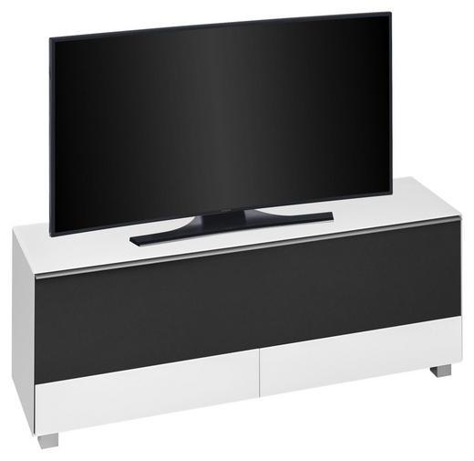 TV-ELEMENT Schwarz, Weiß - Schwarz/Alufarben, KONVENTIONELL, Glas/Kunststoff (160/60/42cm)
