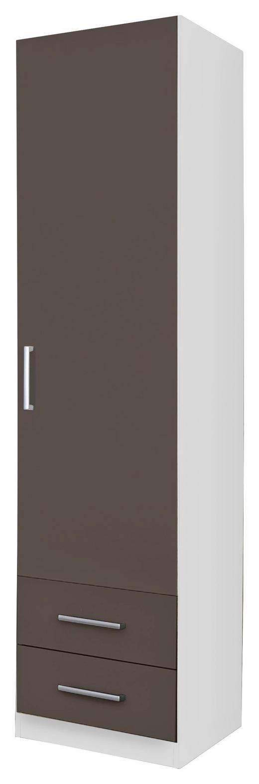DREHTÜRENSCHRANK Grau, Weiß - Silberfarben/Weiß, Design, Holzwerkstoff/Kunststoff (47/197/54cm) - Carryhome