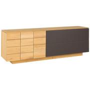 SIDEBOARD Wildeiche massiv, mehrschichtige Massivholzplatte (Tischlerplatte) geölt Eichefarben  - Eichefarben, Natur, Glas/Holz (224/73.4/51.8cm) - Voglauer
