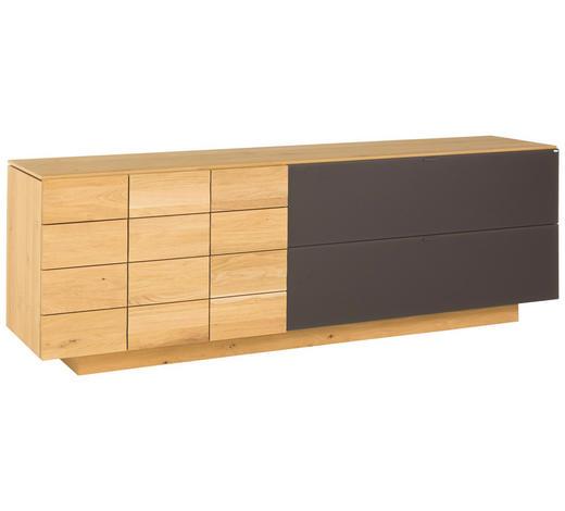 SIDEBOARD Wildeiche massiv, mehrschichtige Massivholzplatte (Tischlerplatte) geölt - Eichefarben, Natur, Glas/Holz (224/73.4/51.8cm) - Voglauer