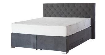 BOXSPRING KREVET - bijela/siva, Moderno, drvni materijal/tekstil (215/200/120cm) - Carryhome