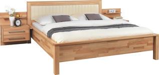 BETTANLAGE   x   in Holz, Textil Buchefarben, Creme - Buchefarben/Creme, Natur, Holz/Textil (140/200cm) - Linea Natura