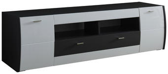 LOWBOARD 185,5/50,2/52,5 cm  - Graphitfarben/Weiß, Design, Holzwerkstoff/Metall (185,5/50,2/52,5cm) - Xora