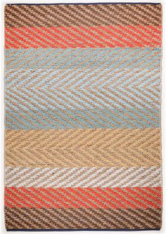 ROČNO TKANA PREPROGA STRIPE  65/135 cm   rjava, večbarvno, naravna, oranžna, bela, svetlo modra, bež  - naravna/svetlo modra, Basics, tekstil (65/135cm) - Tom Tailor