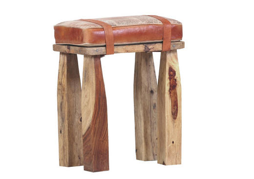 HOCKER Echtleder Mangoholz massiv Braun - Braun, Design, Leder/Holz (41/50/29cm)