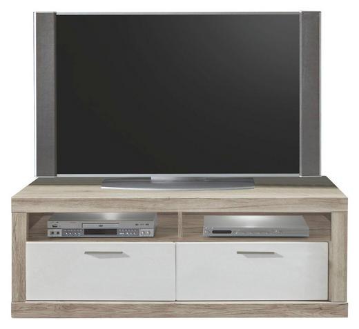 TV-ELEMENT Eiche Eichefarben, Weiß - Chromfarben/Eichefarben, Design, Metall (133,5/48,8/56cm) - XORA
