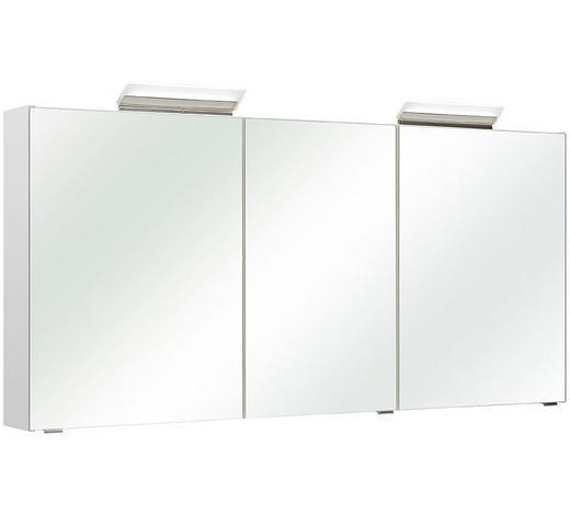 SPIEGELSCHRANK Weiß  - Alufarben/Weiß, Basics, Glas/Holzwerkstoff (147,0/70,0/16,0cm) - Xora