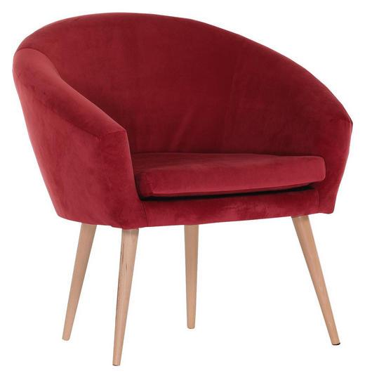 SESSEL Flachgewebe Rot - Rot/Naturfarben, Design, Holz/Textil (73/73/66cm) - Carryhome