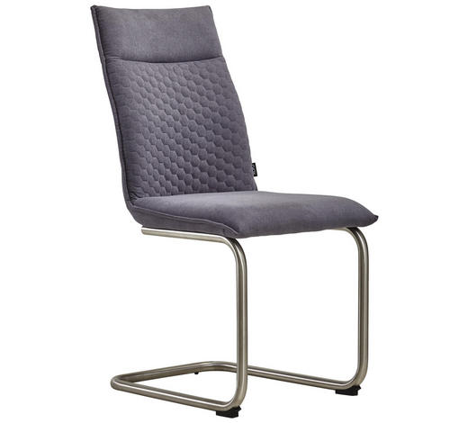 HOUPACÍ ŽIDLE, kov, textil, šedá, barvy nerez oceli,  - šedá/barvy nerez oceli, Design, kov/textil (47/92/59cm) - Xora