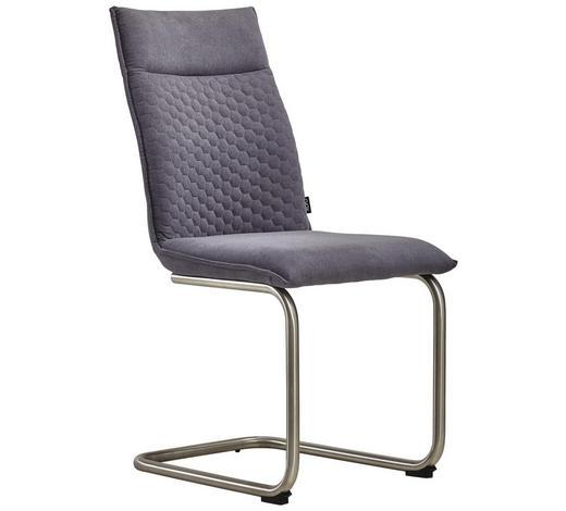 HOUPACÍ ŽIDLE, kov, textilie, šedá, barvy nerez oceli, - šedá/barvy nerez oceli, Design, kov/textilie (47/92/59cm) - Xora