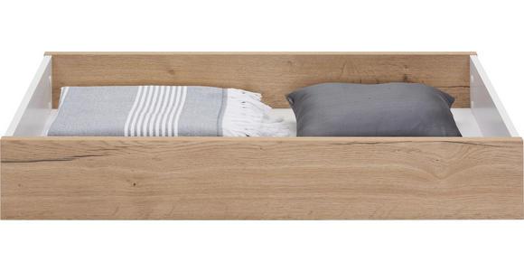 BETTKASTEN - Eichefarben/Weiß, Design, Holzwerkstoff (99,3/17/53,2cm) - Hom`in
