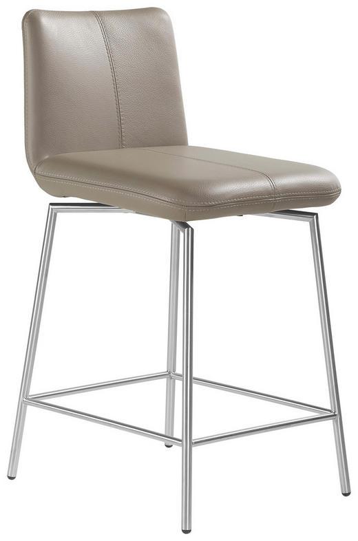 BARHOCKER Echtleder Aubergine - Aubergine, Design, Leder/Metall (47/112/60cm) - MUSTERRING