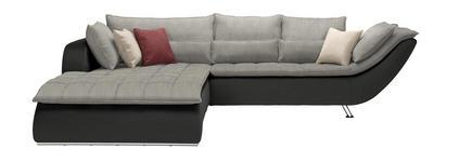WOHNLANDSCHAFT Hellgrau, Dunkelgrau  - Chromfarben/Dunkelgrau, Design, Textil/Metall (220/300cm) - Hom`in