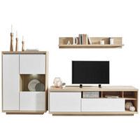 WOHNWAND Eichefarben, Weiß   Eichefarben/Weiß, Design, Glas/Holzwerkstoff  (280 ...
