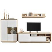 WOHNWAND In Eichefarben, Weiß   Eichefarben/Weiß, Design,  Glas/Holzwerkstoff (