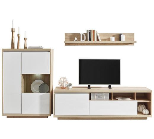 WOHNWAND in Weiß, Eichefarben - Eichefarben/Weiß, Design, Glas/Holzwerkstoff (280/180/48cm) - Ti`me