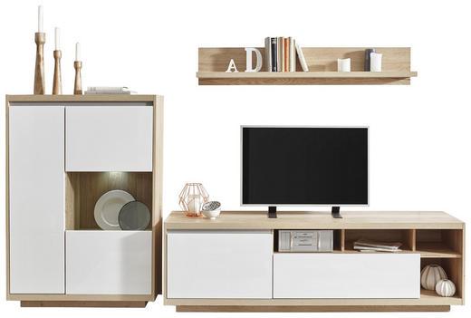 WOHNWAND Eichefarben, Weiß - Eichefarben/Weiß, Design, Glas/Holzwerkstoff (280 180 48cm) - Ti`me