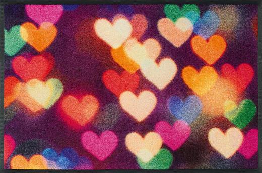 FUßMATTE 50/75 cm Herz Multicolor, Violett - Violett/Multicolor, Basics, Kunststoff/Textil (50/75cm) - Esposa