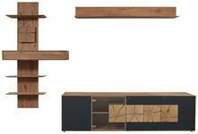 WOHNWAND Kerneiche vollmassiv Anthrazit, Eichefarben, Transparent  - Eichefarben/Transparent, Natur, Glas/Holz (310/204/49cm) - Valnatura