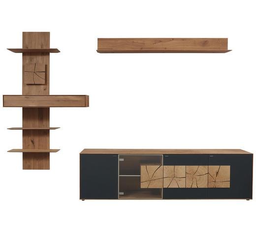 WOHNWAND in Anthrazit, Eichefarben, Transparent - Eichefarben/Transparent, Natur, Glas/Holz (310/204/49cm) - Valnatura