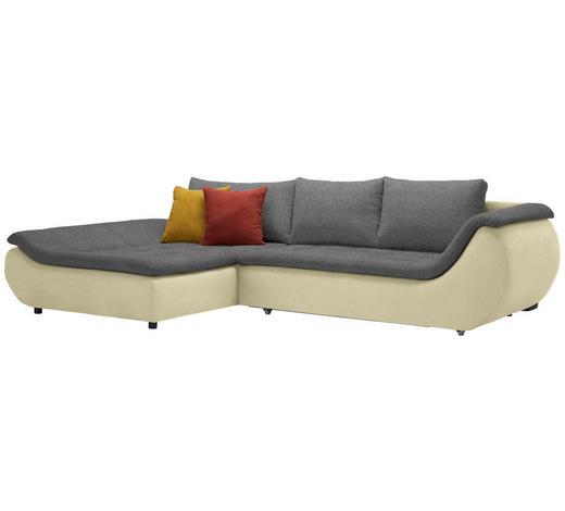 WOHNLANDSCHAFT in Textil Grau, Hellgrün  - Schwarz/Hellgrün, Design, Kunststoff/Textil (185/310cm) - Carryhome