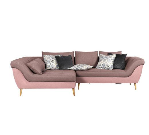 WOHNLANDSCHAFT Rosa Flachgewebe  - Rosa/Naturfarben, Design, Holz/Textil (175/313cm) - Carryhome