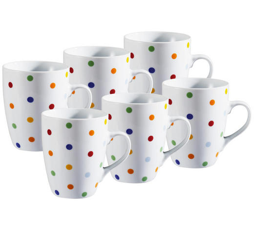KAFFEEBECHERSET 6-teilig Keramik Porzellan Multicolor  - Multicolor, Basics, Keramik (9/11cm)