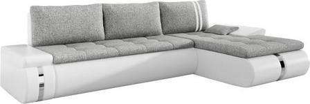 WOHNLANDSCHAFT in Textil Weiß, Hellgrau  - Hellgrau/Schwarz, KONVENTIONELL, Kunststoff/Textil (278/178cm) - Carryhome