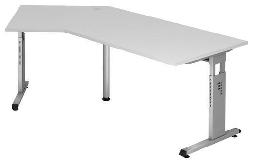 SCHREIBTISCH Weiß - Silberfarben/Weiß, KONVENTIONELL, Metall (210/65-85/113cm)