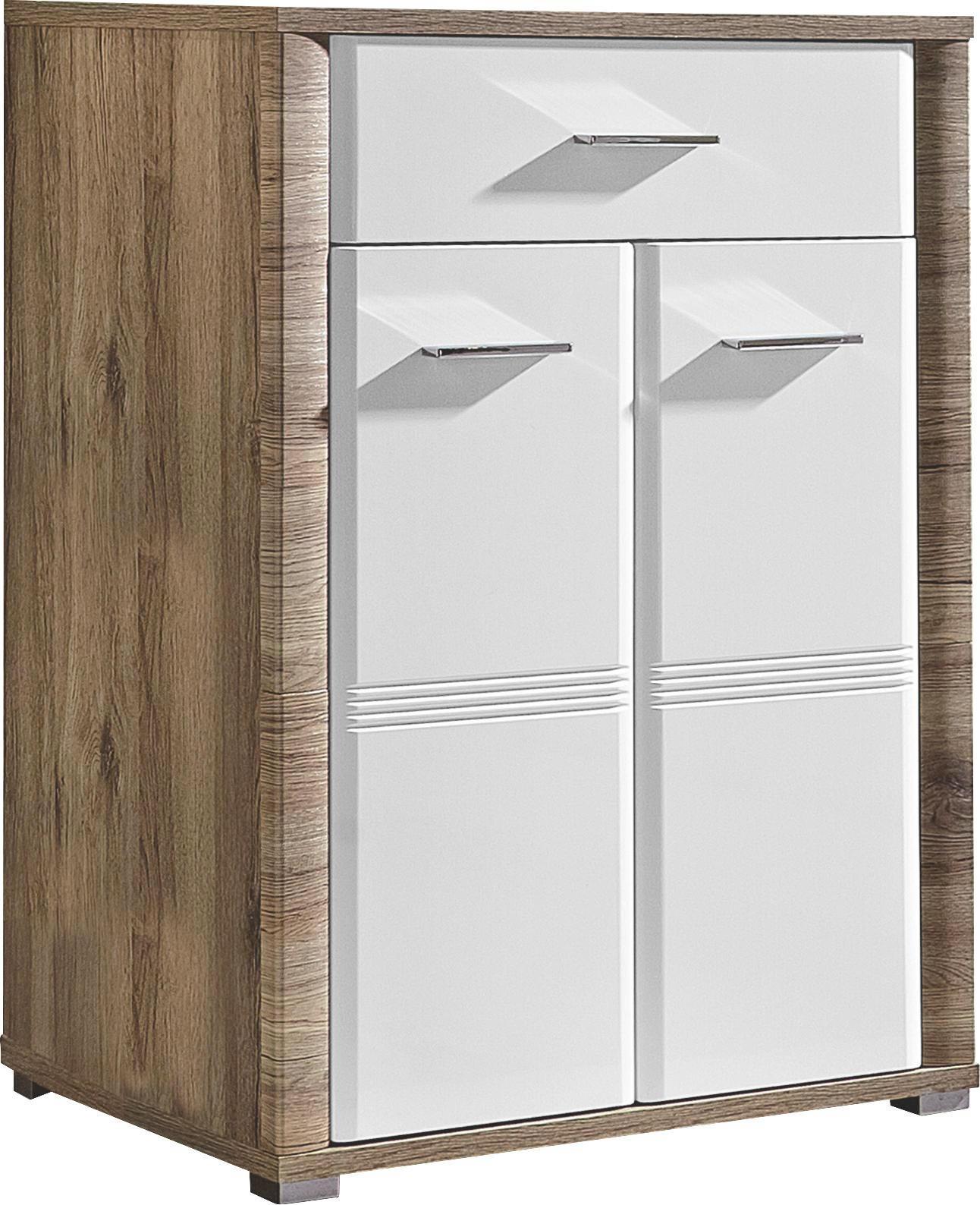 SCHUHSCHRANK Hochglanz Eichefarben, Weiß - Chromfarben/Eichefarben, KONVENTIONELL, Holzwerkstoff/Metall (75/100/38cm)