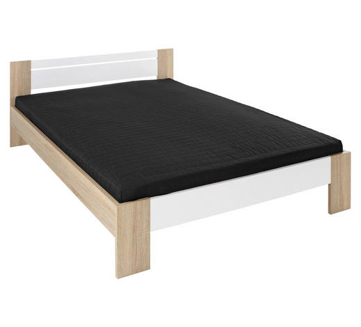krevet - bijela/boje hrasta, Design, drvni materijal (145/35-71/204cm) - Boxxx