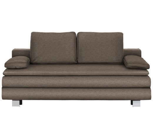 BOXSPRINGSOFA in Textil Hellbraun  - Chromfarben/Hellbraun, Design, Textil/Metall (204/95/100cm)
