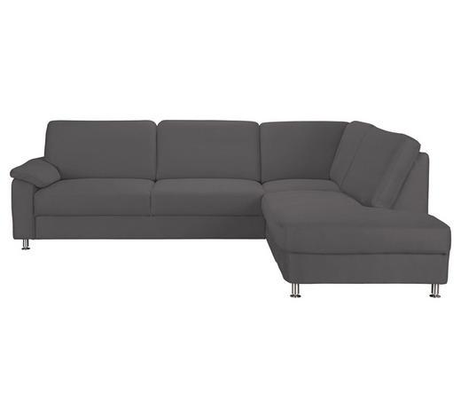 WOHNLANDSCHAFT Grau Mikrofaser  - Graphitfarben/Alufarben, KONVENTIONELL, Textil/Metall (266/202cm) - Beldomo System