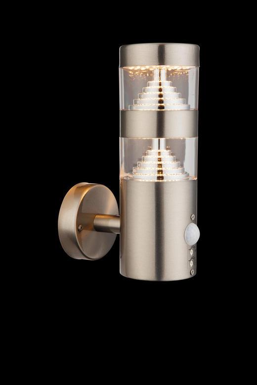 AUßENLEUCHTE Klar - Klar/Silberfarben, MODERN, Kunststoff/Metall (8/13,3/22cm)
