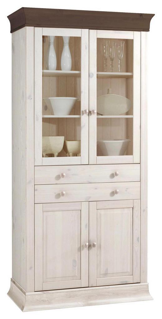 VITRINE Kiefer massiv Dunkelbraun, Weiß - Dunkelbraun/Weiß, Design, Holz (94/195/45cm) - CARRYHOME