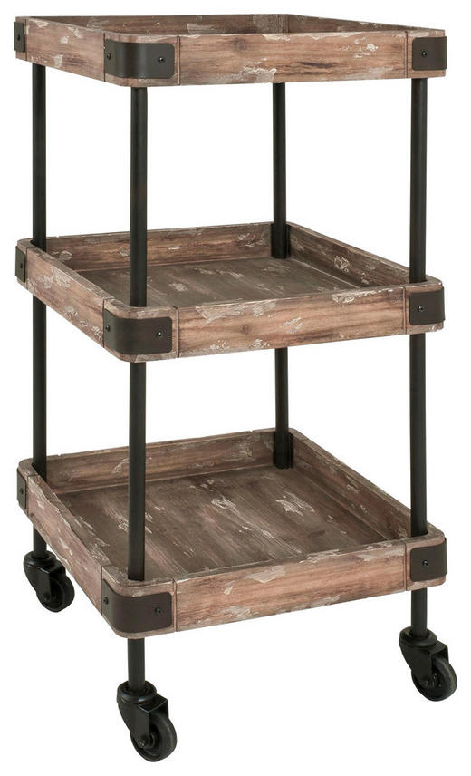 SERVIERWAGEN in massiv Braun, Schwarz - Schwarz/Braun, Design, Holz/Holzwerkstoff (40 84 40cm) - Carryhome