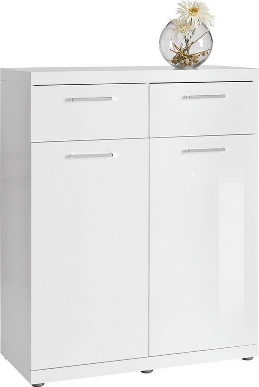 KOMMODE Weiß - Chromfarben/Alufarben, Design, Holzwerkstoff/Kunststoff (86,4/106,6/40cm) - Carryhome