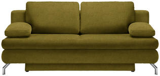 SCHLAFSOFA in Textil Gelb, Goldfarben  - Chromfarben/Gelb, Design, Textil/Metall (200/91/92cm) - Novel