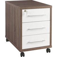 POJÍZDNÝ KONTEJNER - bílá/barvy stříbra, Konvenční, kov/dřevěný materiál (43,8/63/65cm) - Voleo