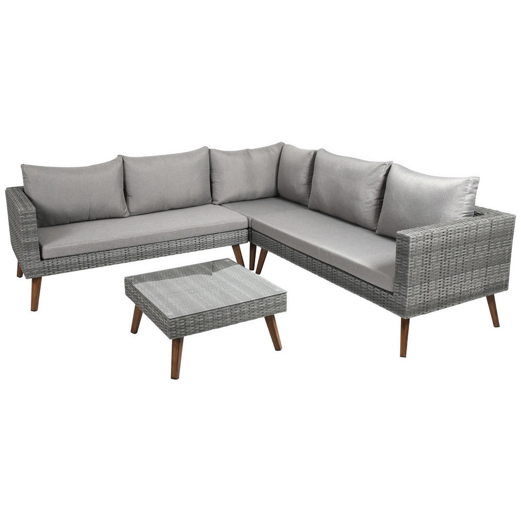 Ambia Garden Loungegarnitur Polyester Aluminium Grau