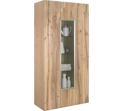 VITRINE  in furniert, mehrschichtige Massivholzplatte (Tischlerplatte) Altholz, Eiche Eichefarben - Eichefarben/Silberfarben, Natur, Glas/Holz (96/194/42,3cm) - Voglauer