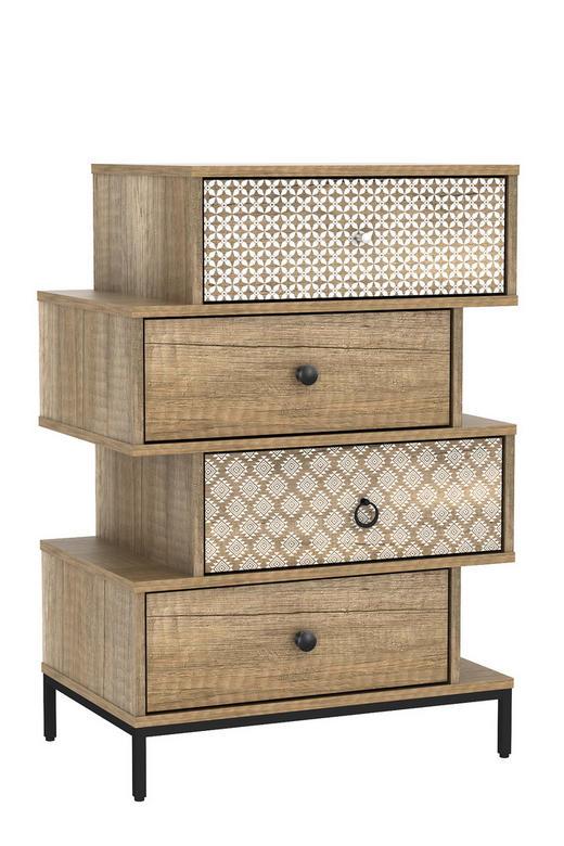 STOLEK NA ELEKTRONIKU - barvy ořechu/barvy hliníku, kov/dřevěný materiál (80/56,5/40cm) - Boxxx