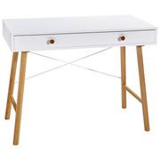 SCHREIBTISCH Kiefer massiv Weiß, Kieferfarben  - Weiß/Kieferfarben, MODERN, Holz (100/76/50cm) - Carryhome