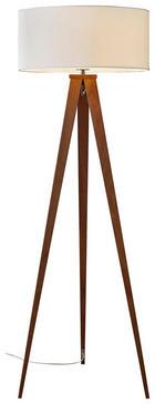 STEHLEUCHTE - Walnussfarben, Design, Holz/Textil (50/136cm) - NOVEL