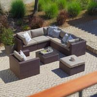 LOUNGEHOCKER  - Beige/Braun, Design, Glas/Kunststoff (70/31/70cm) - Ambia Garden